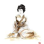 Geisha ink painting,  geisha kimono japan art print women wedding gift modern art abstract art sumi-e geisha girl geisha costume asian women by Mariusz Szmerdt