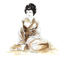 Geisha ink painting,  geisha kimono japan art print women wedding gift modern art abstract art sumi-e geisha girl geisha costume asian women by Mariusz Szmerdt