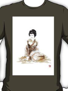Geisha ink painting,  geisha kimono japan art print women wedding gift modern art abstract art sumi-e geisha girl geisha costume asian women T-Shirt