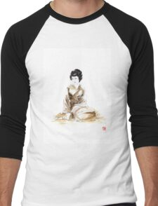 Geisha ink painting,  geisha kimono japan art print women wedding gift modern art abstract art sumi-e geisha girl geisha costume asian women Men's Baseball ¾ T-Shirt