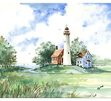 Vintage Tawas Point Light House by Robin (Rob) Pelton