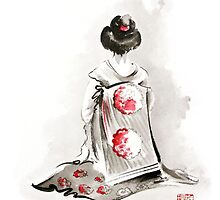 Geisha girl drawing large poster, japanese woman watercolor art prin, geisha kimono artwork by Mariusz Szmerdt