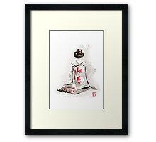 Geisha girl drawing large poster, japanese woman watercolor art prin, geisha kimono artwork Framed Print