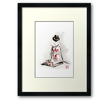 Geisha girl drawing large poster, japanese woman watercolor art prin, geisha kimono artwork Framed Print