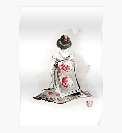 Geisha girl drawing large poster, japanese woman watercolor art prin, geisha kimono artwork Poster
