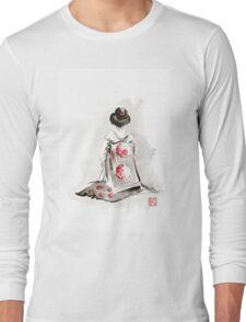 Geisha girl drawing large poster, japanese woman watercolor art prin, geisha kimono artwork Long Sleeve T-Shirt