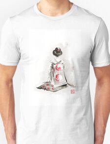 Geisha girl drawing large poster, japanese woman watercolor art prin, geisha kimono artwork Unisex T-Shirt