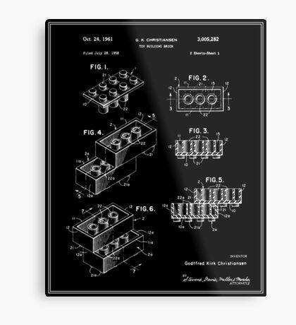 Lego Building Brick Patent - Black Metal Print