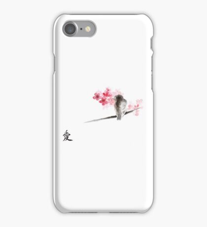 Sparrow sumi-e bird birds on branches ink drawing , cherry blossom flowers, japanese home decor iPhone Case/Skin