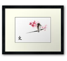Sparrow sumi-e bird birds on branches ink drawing , cherry blossom flowers, japanese home decor Framed Print