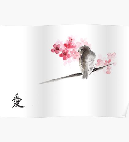 Sparrow sumi-e bird birds on branches ink drawing , cherry blossom flowers, japanese home decor Poster