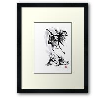 Aikido techniques martial arts sumi-e black and white ink painting watercolor art print painting, japanese warrior artwork Framed Print