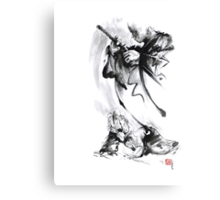 Aikido techniques martial arts sumi-e black and white ink painting watercolor art print painting, japanese warrior artwork Canvas Print