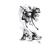 Aikido techniques martial arts sumi-e black and white ink painting watercolor art print painting, japanese warrior artwork Photographic Print