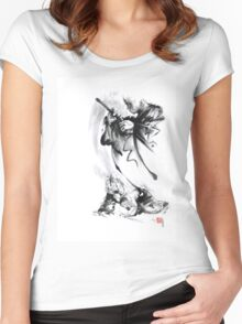 Aikido techniques martial arts sumi-e black and white ink painting watercolor art print painting, japanese warrior artwork Women's Fitted Scoop T-Shirt