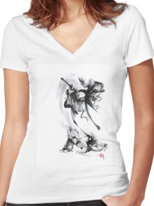 Aikido techniques martial arts sumi-e black and white ink painting watercolor art print painting, japanese warrior artwork Women's Fitted V-Neck T-Shirt