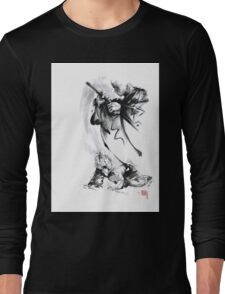 Aikido techniques martial arts sumi-e black and white ink painting watercolor art print painting, japanese warrior artwork Long Sleeve T-Shirt