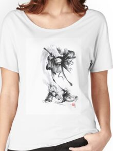 Aikido techniques martial arts sumi-e black and white ink painting watercolor art print painting, japanese warrior artwork Women's Relaxed Fit T-Shirt