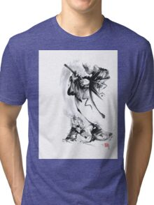 Aikido techniques martial arts sumi-e black and white ink painting watercolor art print painting, japanese warrior artwork Tri-blend T-Shirt