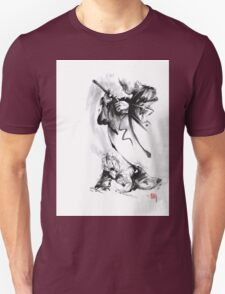 Aikido techniques martial arts sumi-e black and white ink painting watercolor art print painting, japanese warrior artwork Unisex T-Shirt