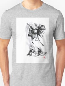 Aikido techniques martial arts sumi-e black and white ink painting watercolor art print painting, japanese warrior artwork T-Shirt