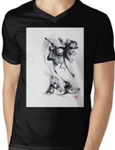 Aikido techniques martial arts sumi-e black and white ink painting watercolor art print painting, japanese warrior artwork Mens V-Neck T-Shirt