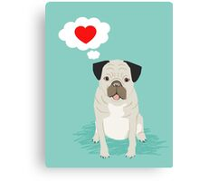 Valentines Pug with Heart - I Love You - Heart, pug, dog, cute, trendy Canvas Print