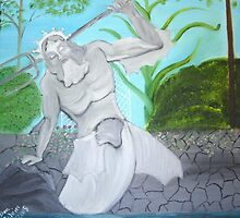 Poseidon Statue in Garden Pool by towncrier