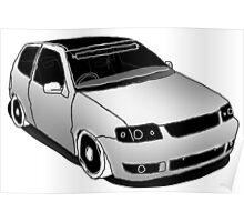 VW Polo 6n2, minimal digital sketch Poster