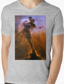 Yellow Galaxy Mens V-Neck T-Shirt
