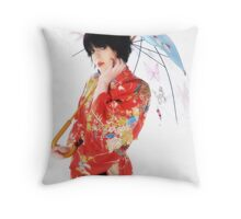 Red kimono Throw Pillow