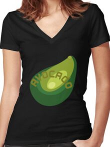 AVOCADO FRUIT  Women's Fitted V-Neck T-Shirt