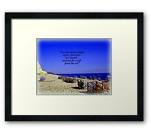 Colourful Deck Chairs in the Wind Framed Print