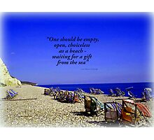 Colourful Deck Chairs in the Wind Photographic Print