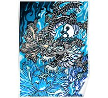 Japanese dragon with blue frame  Poster