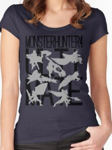 Monster Hunter 4 Ultimate - Crew 2 (black text) Women's Fitted Scoop T-Shirt
