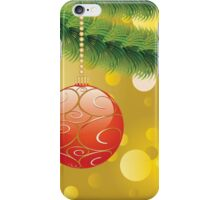 Red Christmas ball on branch 2 iPhone Case/Skin