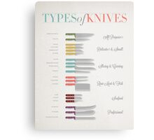 Types of Knives Infographic Metal Print