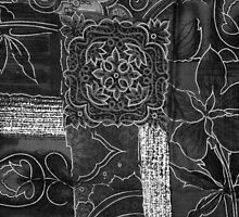 Patchwork, Flowers, Petals, Swirls - Black Gray   by sitnica