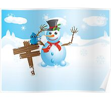 Snowman and signboard Poster