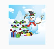 Snowman with Christmas tree Unisex T-Shirt