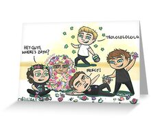 Flower Fight Greeting Card