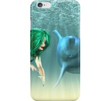 Mermaid with a dolphin 2 iPhone Case/Skin