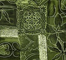 Patchwork, Flowers, Petals, Swirls - Green by sitnica