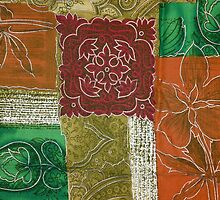 Patchwork, Flowers, Swirls - Orange Green Red by sitnica