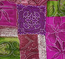 Patchwork, Flowers, Swirls - Pink Green Purple by sitnica