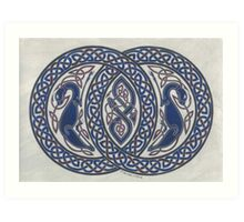 two dogs and serpent in circles Art Print