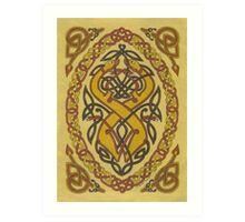 two entwined dogs in brown Art Print