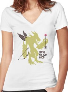 Cupid fix you good funny monster Valentines Day Women's Fitted V-Neck T-Shirt