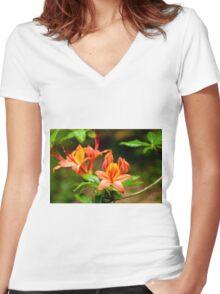 Deciduous Azalea Women's Fitted V-Neck T-Shirt